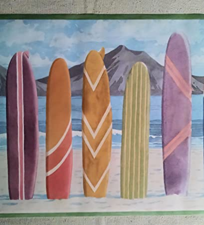 Tabla de surf de playa Hawaii papel pintado frontera – pc134b