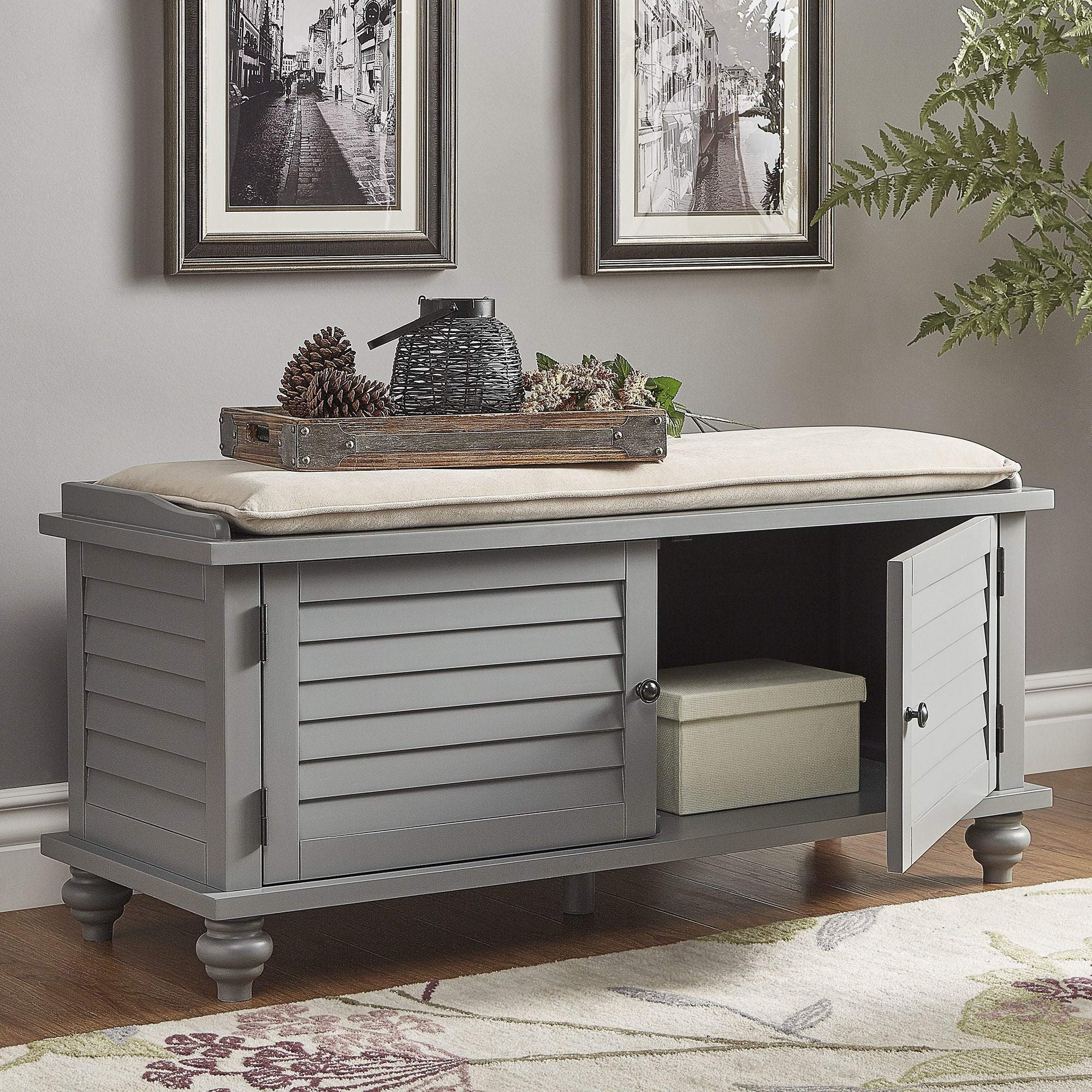 Inspire Q Maybelle Beige Velvet Cushioned Shutter Door Storage Bench by Classic Grey Painted by Inspire Q