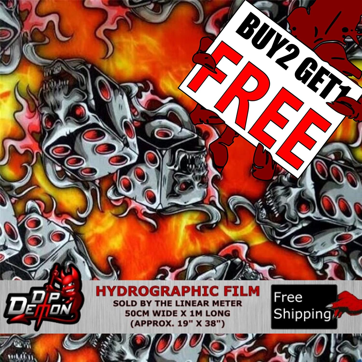 HYDROGRAPHIC WATER TRANSFER HYDRO DIPPING HYDRO DIP FILM BLACK DICE 1M