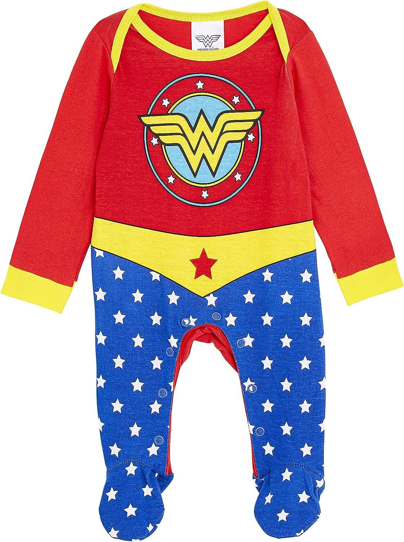 DC Comics Wonder Woman Disfraz Bebe Niña, Ropa Bebe Niña 100% Algodon, Pijamas Enteros Bodies Bebe con Pies, Regalos Originales para Bebes Recien Nacidos a 18 Meses