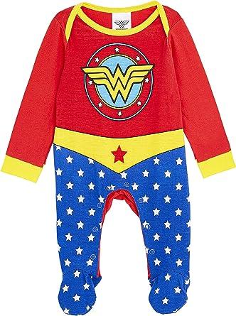 DC Comics Wonder Woman Disfraz Bebe Niña, Ropa Bebe Niña 100% Algodon, Pijamas Enteros Bodies Bebe con Pies, Regalos Originales para Bebes Recien Nacidos a 18 Meses (12-18 Meses): Amazon.es: Ropa y accesorios