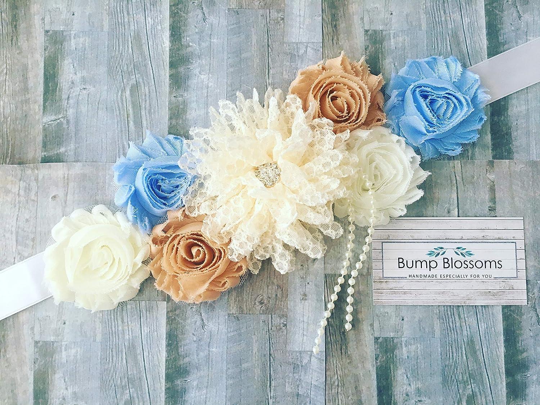 maternity sash Maternity sash belt,ivory blush teal blue  navy sash Sash flower Belt baby shower gift sash