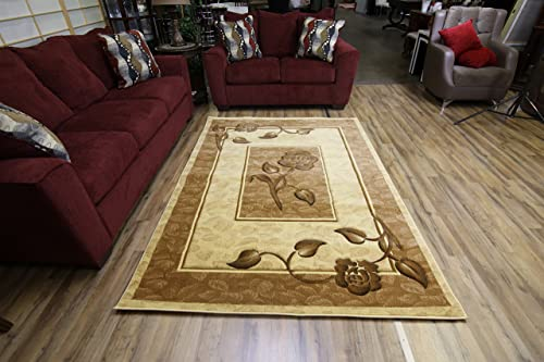 Classic Brown Cream and Beige Flower Design Rug Hand Carved Machine Made Rectangular Area Rug Perfect Carpet to Enhance Your Home Decor 5 x 8 FT