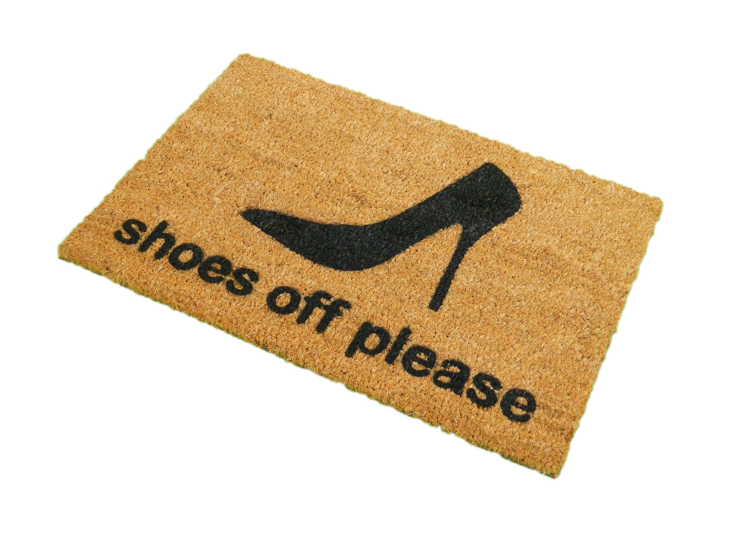 CKB Ltd Shoes Off Please Novelty Doormat Unique Doormats Front/Back Funny Door Mats Made With A Non-Slip Pvc Backing - Natural Coir - Indoor & Outdoor by CKB Ltd
