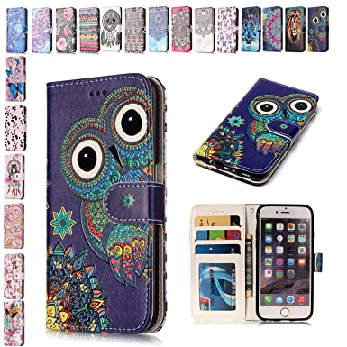 on sale a73cc 10f67 E-Mandala Samsung Galaxy S9 Plus Case Owl PU Leather Flip Case Wallet Cover  with card holder kickstand Shell Soft TPU Silicone Bumper Cover