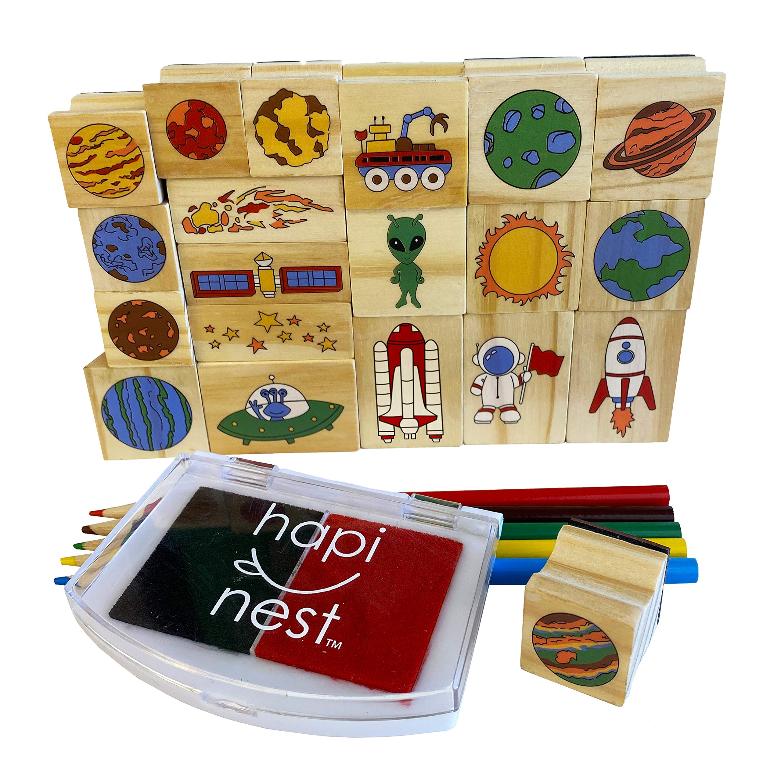 Hapinest Woodland Animal Wooden Stamp and Sticker Set for Kids Boys and Girls 68 Pieces Arts and Crafts Gifts Age 4 5 6 7 8 9 10 Years Old