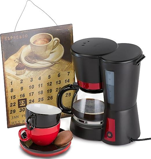 Melissa Máquina de café para café de filtro 1,25 litros 730 de 870 W Incluye dos Oramics tazas de café y un cartel de chapa Calendario filtro cafetera eléctrica: Amazon.es: Hogar