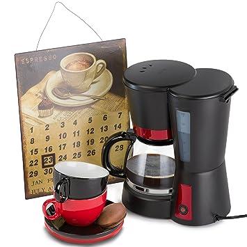 Melissa Máquina de café para café de filtro 1,25 litros 730 de 870 W Incluye dos Oramics tazas de café y un cartel de chapa Calendario filtro cafetera ...