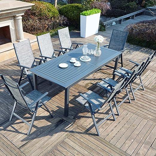 Concept-Usine Berana 8: Mesa de jardín Extensible 10 Personas + 8 sillas en Aluminio: Amazon.es: Jardín