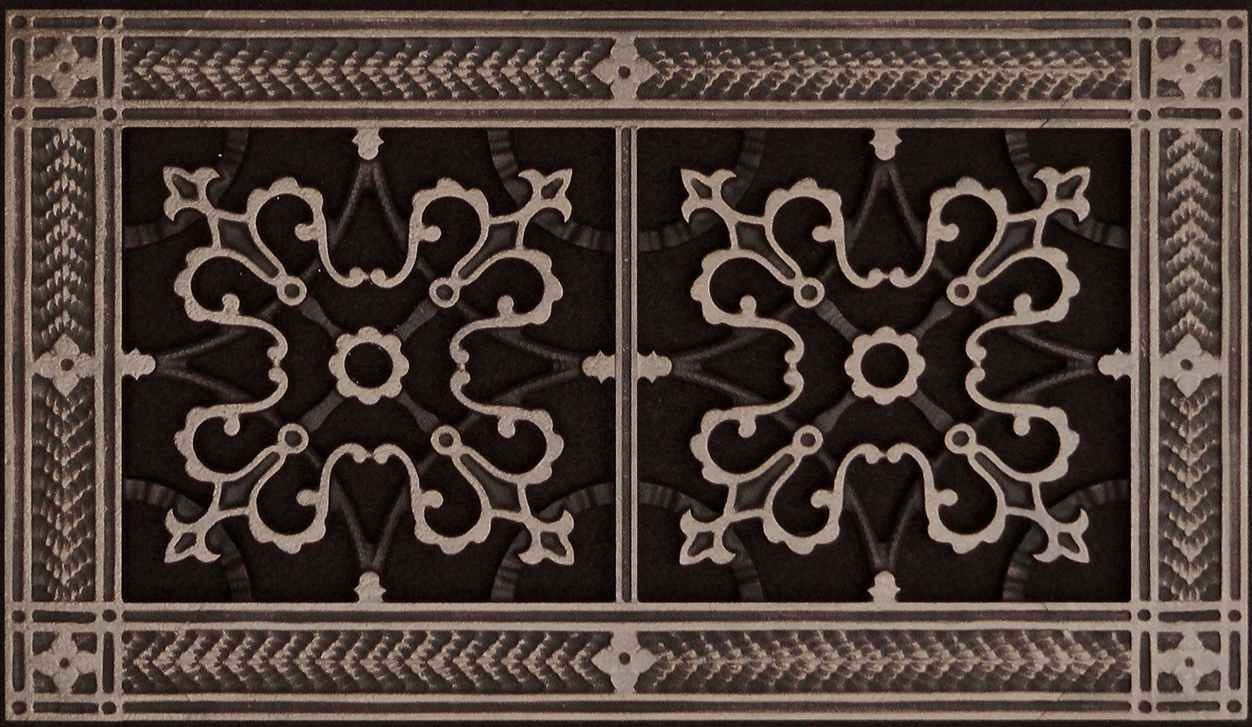"Decorative Grille, Vent Cover, or Return Register. Made of Urethane Resin to fit over a 6''x12'' duct or opening. Total size of vent is 8""x14''x3/8'', for wall and ceiling grilles (not for floor use)."