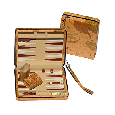 WE Games Tan Map Style Travel Backgammon: Toys & Games