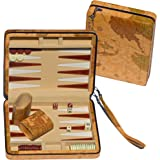 Amazon 18 inch leatherette backgammon set with beautiful old we games tan map style travel backgammon publicscrutiny Images