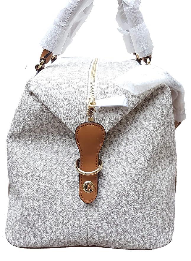 950e5c0e52e2 Amazon.com: Michael Kors LG large travel bag weekender purse MK vanilla  acorn brown: Clothing