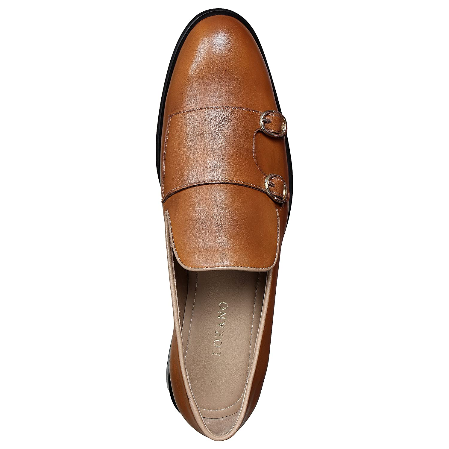 Lozano Tan leather monk strap slip ons Casual Shoes Tan Brown