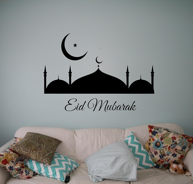 Amazon Com Eid Mubarak Wall Decal Sticker Vinyl Islamic Arabic Home Interior Art Decor Ideas Bedroom Living Room Office Removable Housewares 2 Nt Home Kitchen