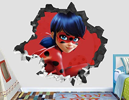 Miraculous Ladybug Wall Decal Smashed 3D Sticker Vinyl Decor Mural Kids Animated Art
