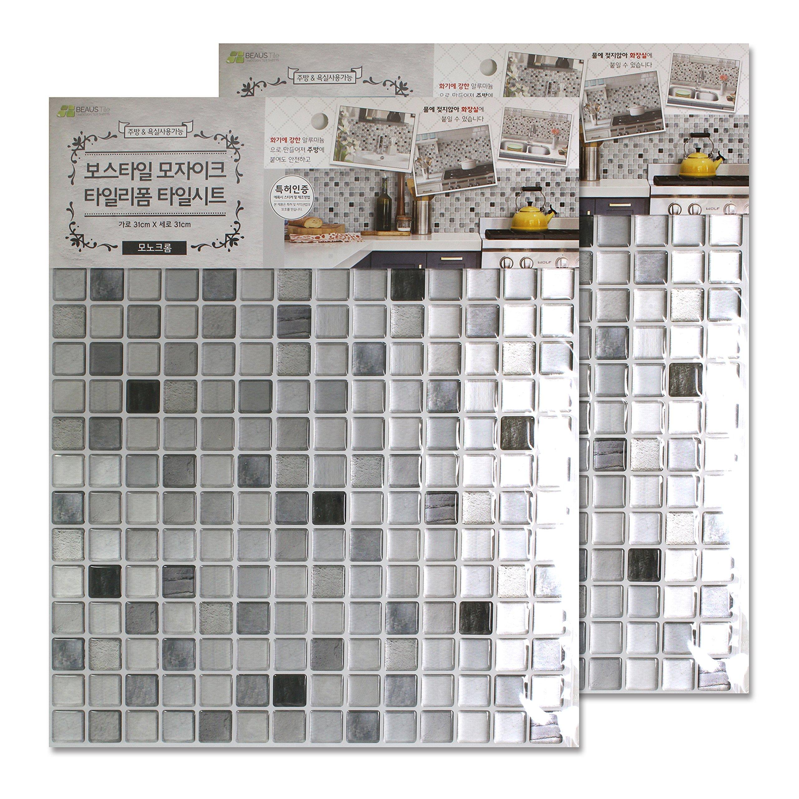 BEAUSTILE Decorative Tile Stickers Peel Stick Backsplash Fire Retardant Tile Sheet (Monocrome) (10, 12.2'' x 12.2'') by BEAUS TILE (Image #6)