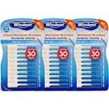Wisdom Toothbrushes Clean Between Interdental Brushes, Fine, Pack of 3, 90-Count