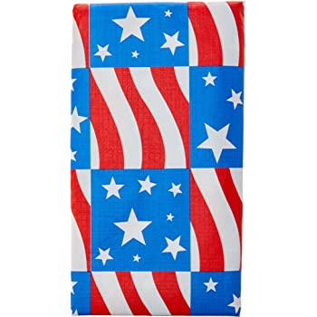 Patriotic Vinyl Tablecloth - Red White and