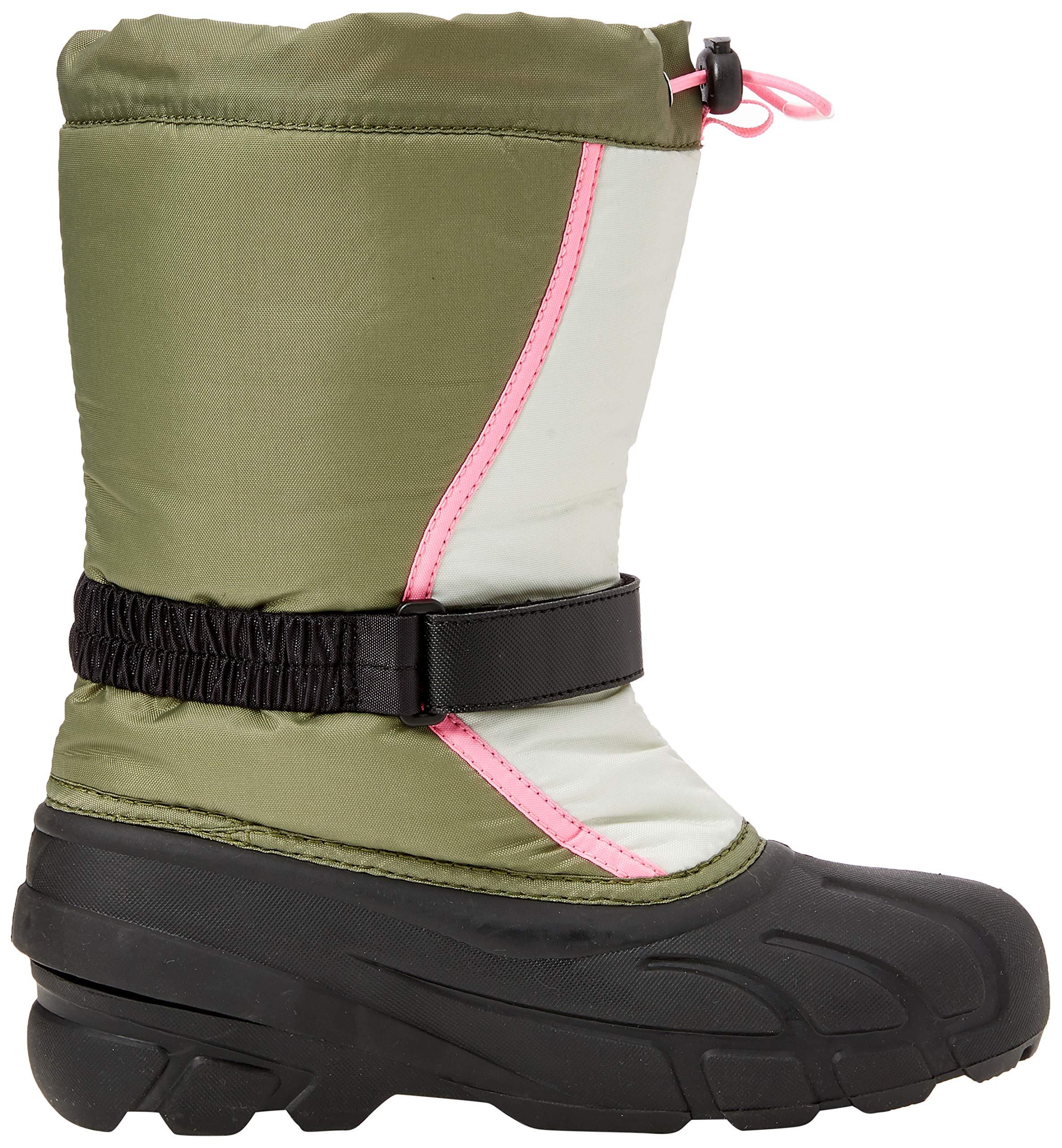 Sorel Girls' Youth Flurry Snow Boot, Hiker Green, Bubblegum, 5 M US Big Kid by Sorel (Image #6)