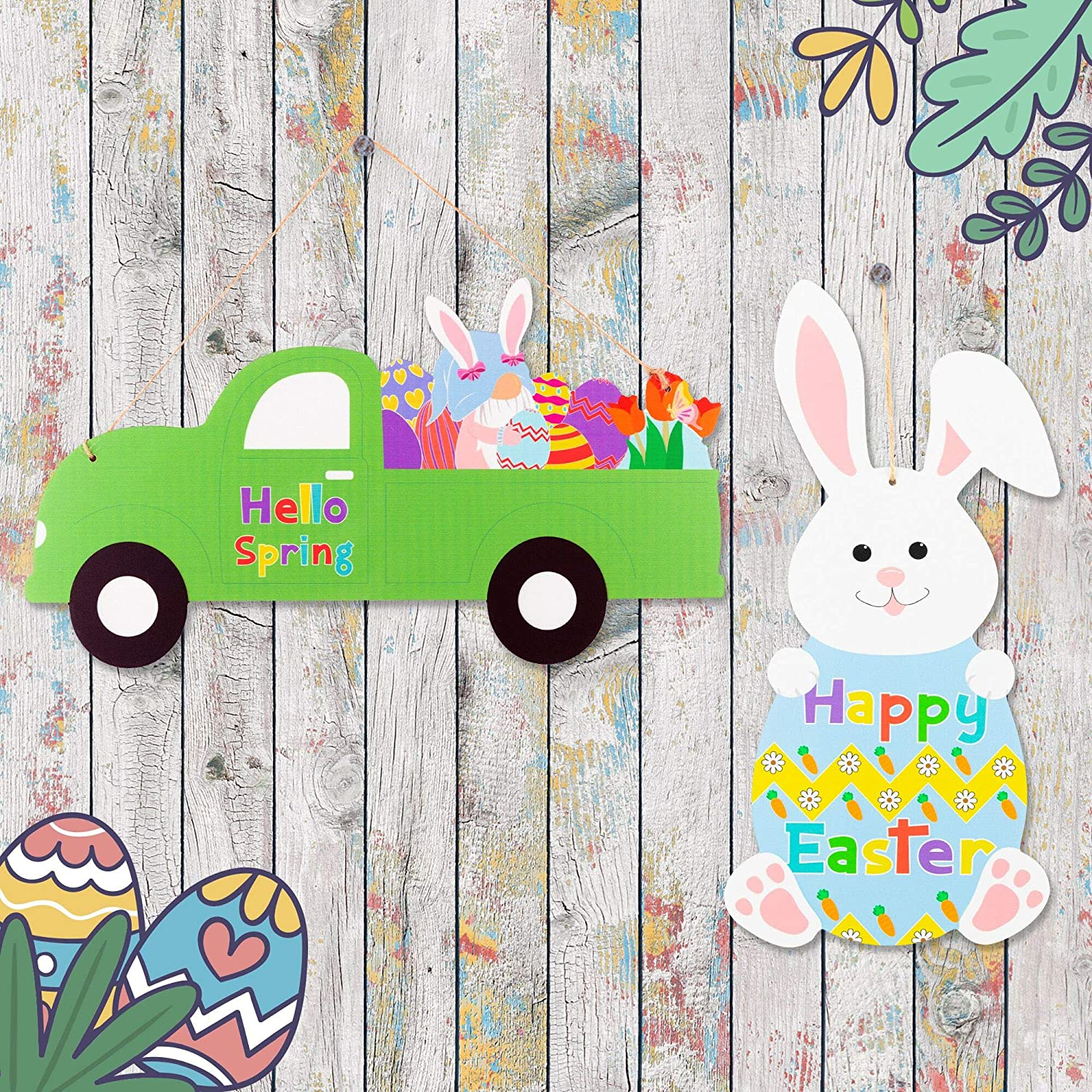 2Pcs Easter Wooden Wall Decoration Rabbit Shape Hanging Decoration Vintage Truck Door Sign with Ribbon Happy Easter Hanging Decor Hello Spring Porch Sign for Home Easter Decoration