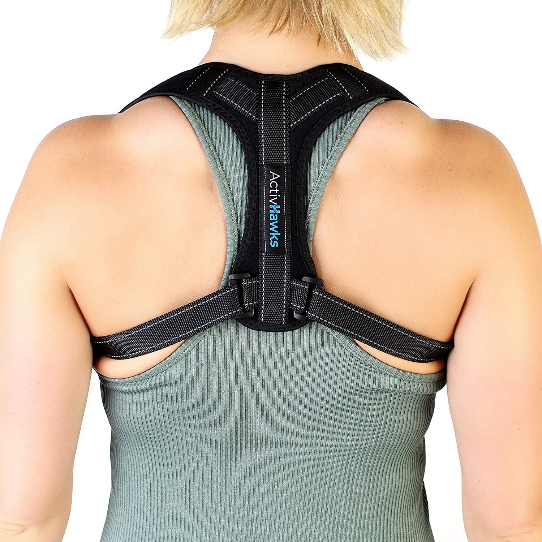 ActivHawks - Corrector de postura de espalda para hombres y mujeres, lavable y ajustable, ideal para aliviar dolores de espalda, torácicos, cuello y hombros, incluye libro electrónico de ejercicios