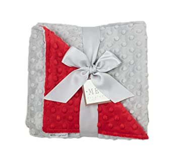 Amazon.com: Meg Original Minky Dot bebé manta, rojo y gris: Baby