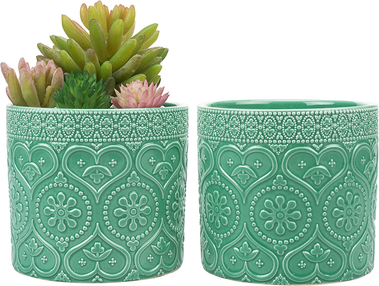 MyGift 4-Inch Aqua Green Ceramic Floral Embossed Succulent Planter Pots, Set of 2