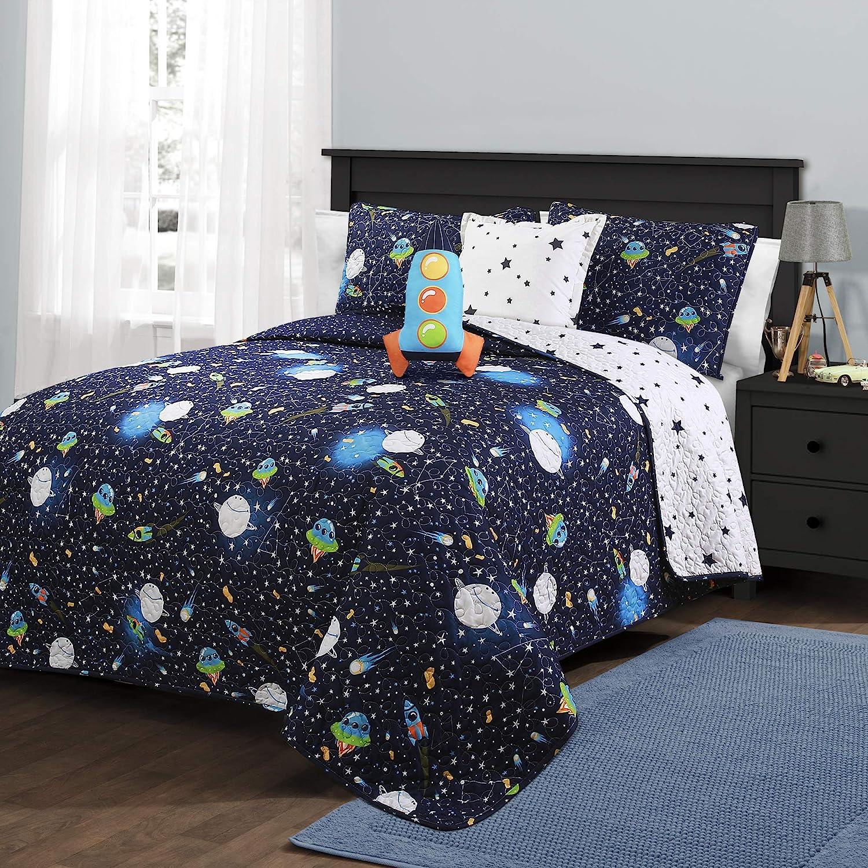 Space Theme Shelf Decor Set for Nursery Bedroom Rocket Stars Planet Grey Black