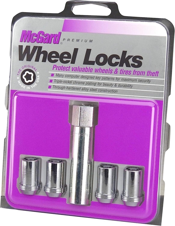 McGard 25257 Chrome Tuner Style Cone Seat Wheel Locks (M12 x 1.5 Thread Size) - Set of 4