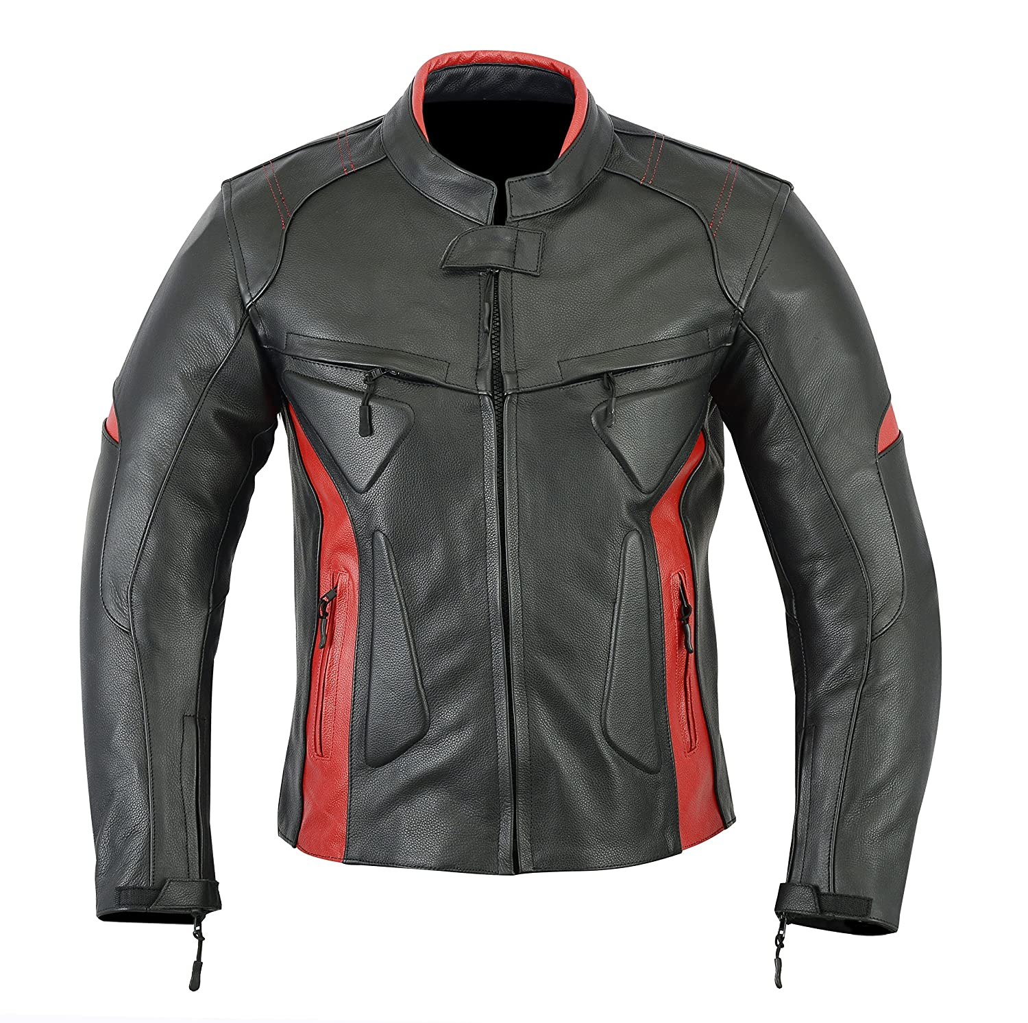 MOTORCYCLE BIKERS MENS ARMOR POWER SPORTS LEATHER MENS JACKET BLACK RED LJ-1704 L Leather teknik