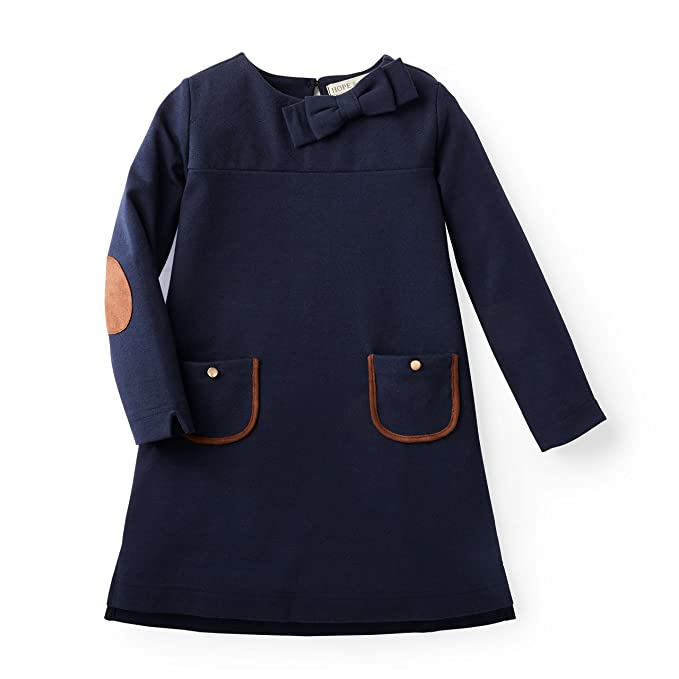 Hope & Henry Girls' Navy Ponte Quilted Riding Dress