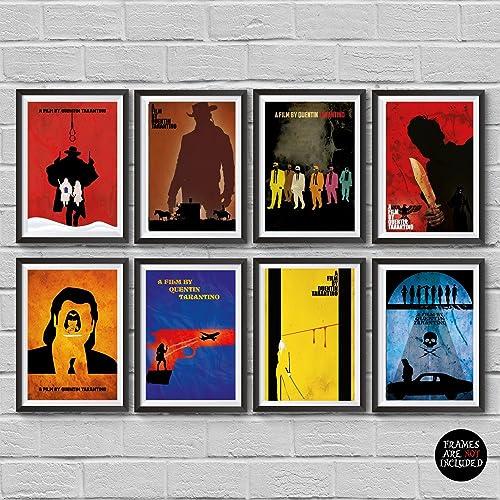 Quentin Tarantino Movies Minimalist Poster Set 8 The Hateful Eight Django Unchained Kill Bill Pulp Fiction