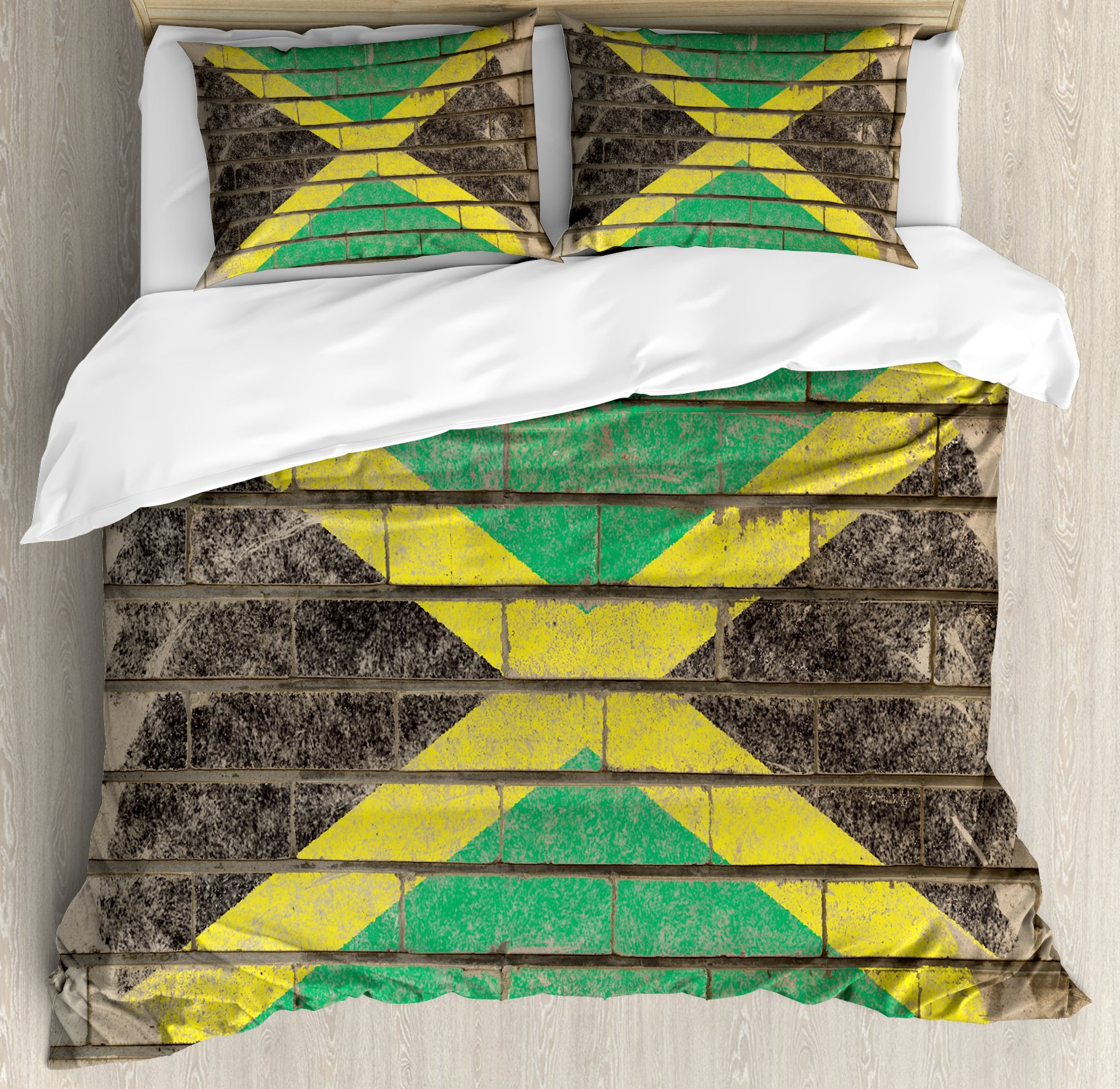 Jamaican Duvet Cover Set King Size by Ambesonne, Flag on the Wall Illustration with Chalk Effect Old Bricks Grunge Design Caribbean, Decorative 3 Piece Bedding Set with 2 Pillow Shams, Multicolor