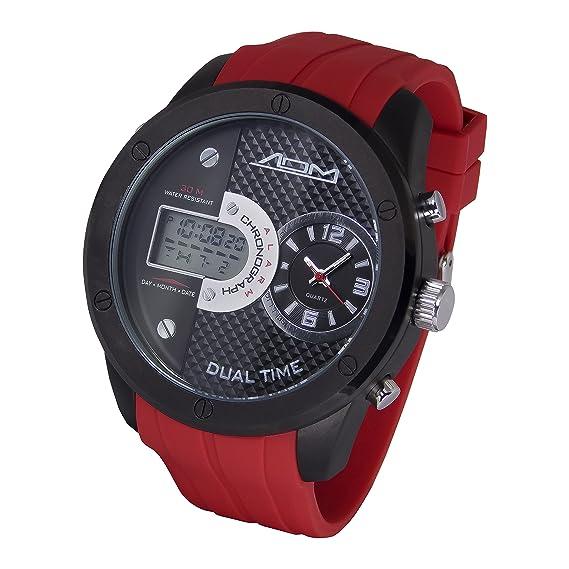 American diseño de Detroit de la máquina Hombres de cuarzo acero inoxidable y silicona reloj deportivo