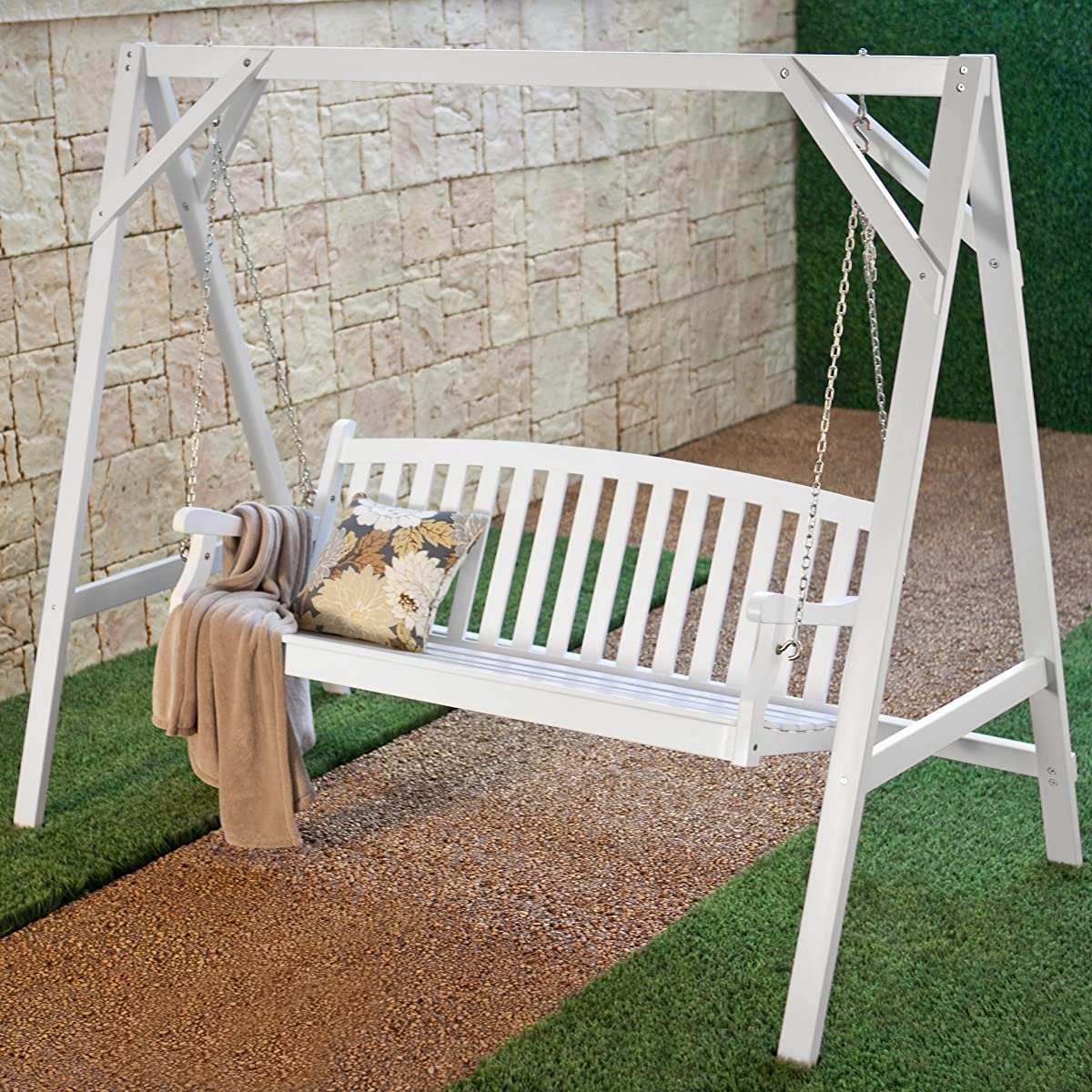 Patio Swing for Two Persons Wood Durable White Finish Coral Coast Pleasant Bay All Weather Curved Back Porch 4 Ft. Outdoor Seating