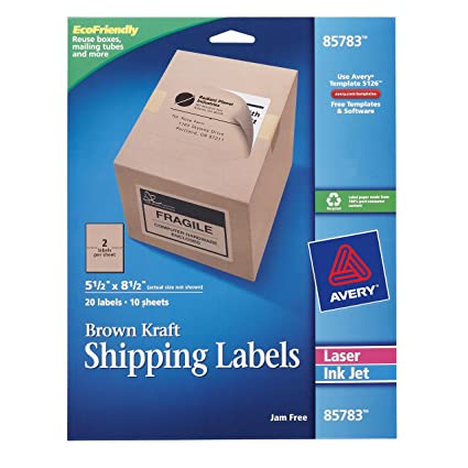 avery internet shipping labels ink jet and laser brown kraft 20 labels
