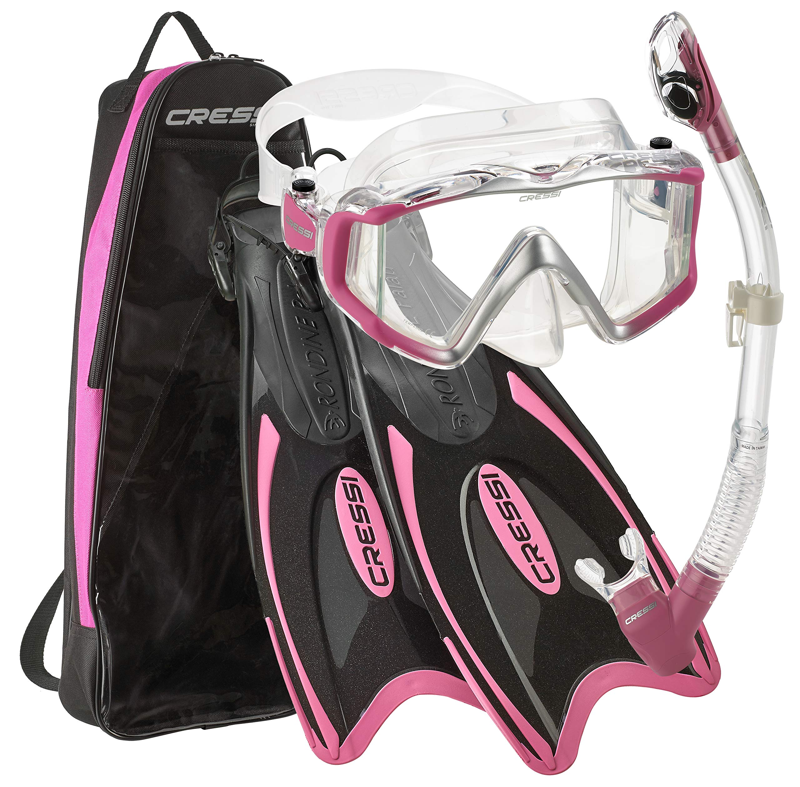 Cressi Palau Traveling Premium Snorkel Set, Panoramic Wide View Adult Diving Snorkeling Mask, Desert Dry Snorkel, Adjustable Fins, Travel Gear Bag - Metallic Pink - Small/Medium by Cressi