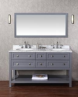Amazoncom Stufurhome Cadence White  Inch Double Sink Bathroom - 60 inch double sink bathroom vanity