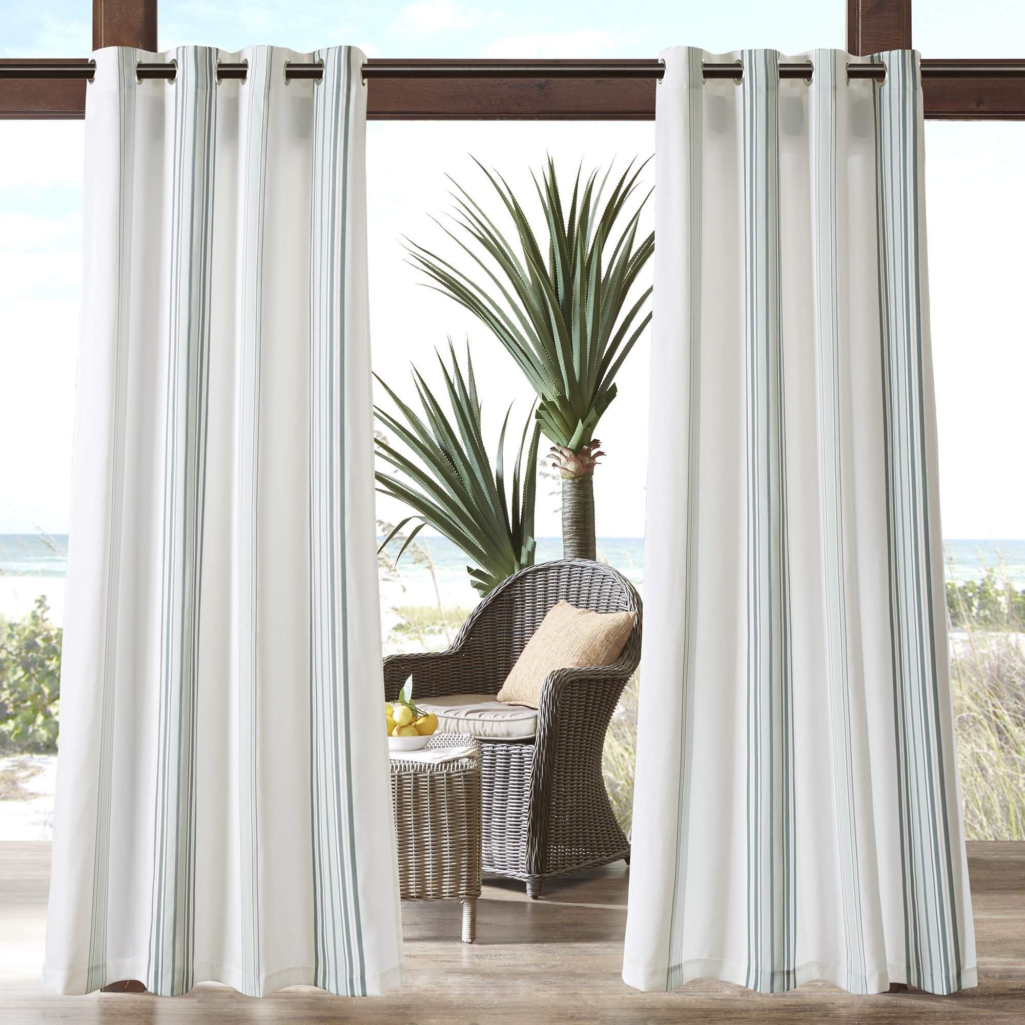 N&T 1 Piece Grey Cabana Stripes Gazebo Curtain Panel 84 inch, White Coastal Print Outdoor Curtain Light Filtering for Patio Porch, Water Resistant Outdoor Drapes Sunroom Grommet, Polyester