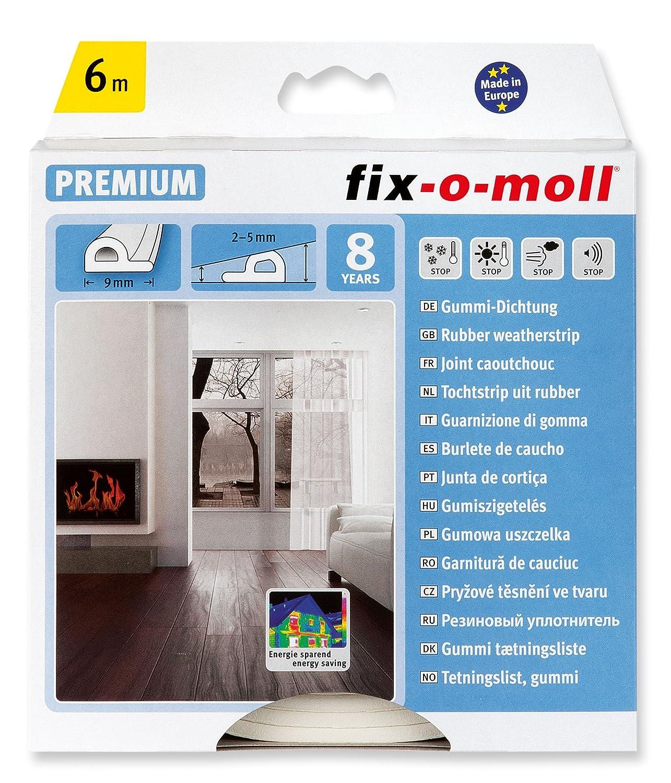 fix-o-moll 3565254 P-Profile Seal 6 m 5.5 x 9 mm Self-Adhesive White