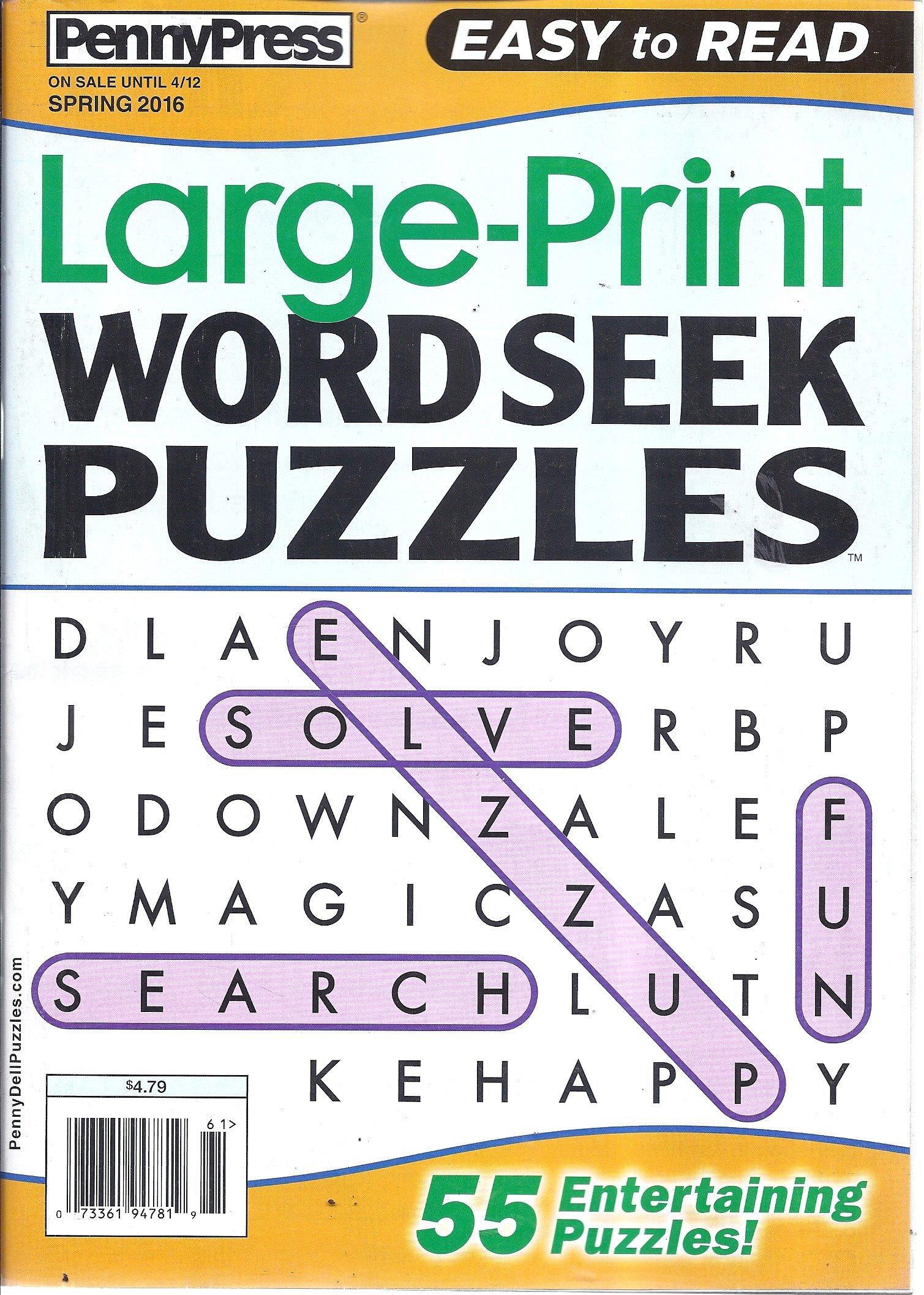 Large-Print Word Seek Puzzles (Spring 2016 - Easy To Read) pdf epub