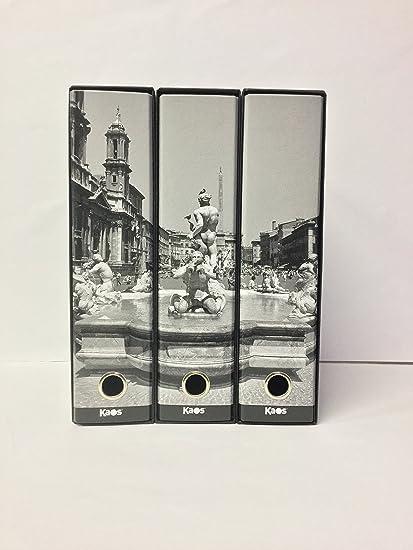 kaos-Juego de 3 archivadores de palanca A4 decorados con LA FONTANA DEL MORO IN