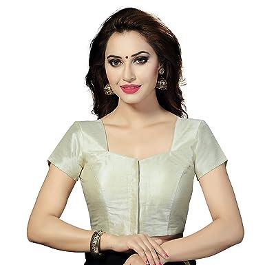 e6da8380391125 Amazon.com: TrendyFashionMall Readymade Short Sleeve Silk Saree Blouse  Cream-Small(38): Clothing