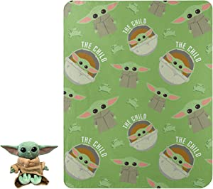 """The Mandalorian, The Child Character Pillow and Fleece Throw Blanket Set, 40"""" x 50"""""""
