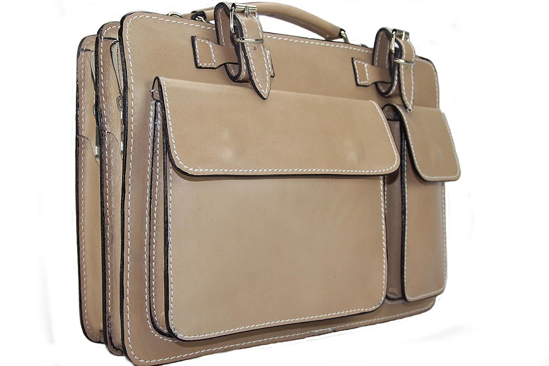 Business- und Laptoptaschen Italienische Luxus Aktentasche M (Beige)