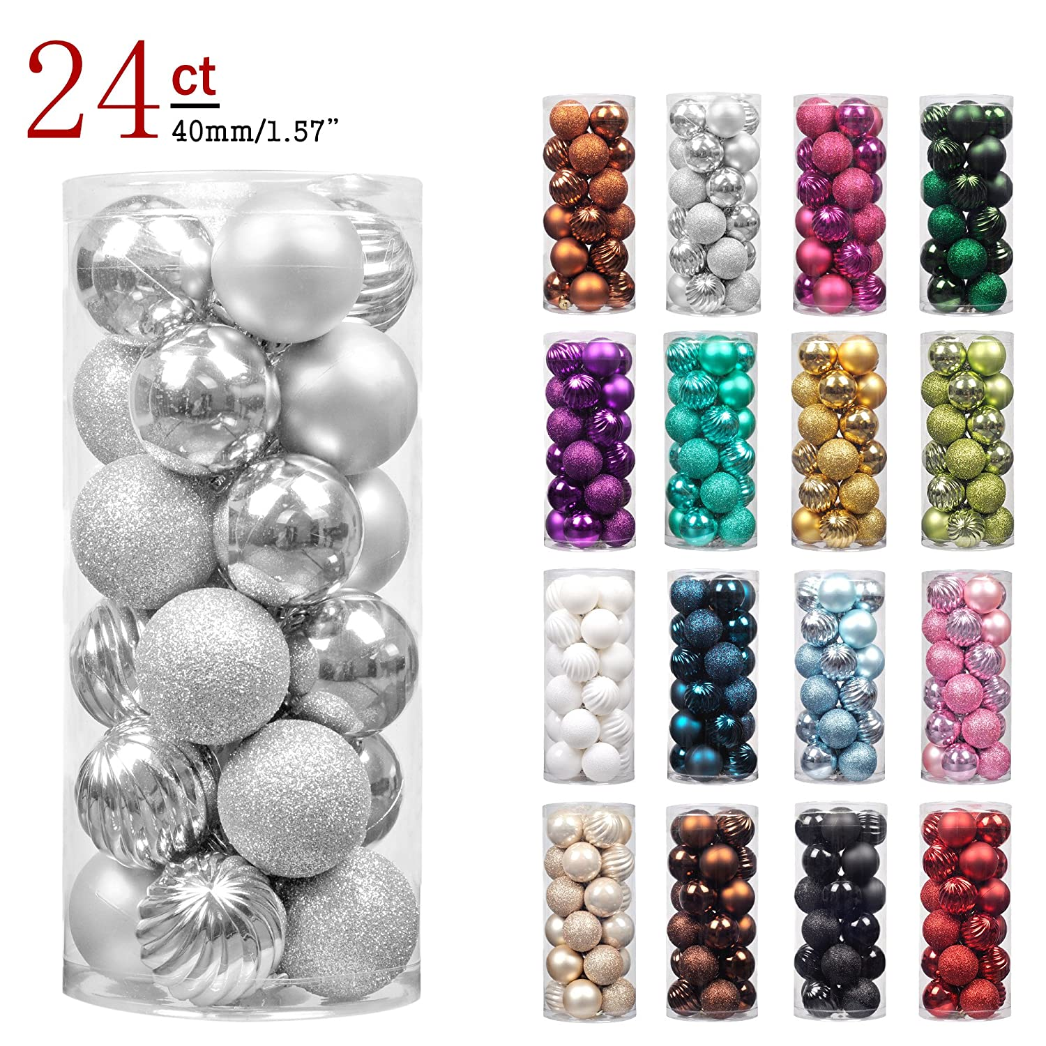 KI Store 24ct Christmas Ball Ornaments Shatterproof Christmas Decorations  Tree Balls SMALL for Holiday Wedding Party