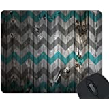 Blue Gray Vintage Wood Chevron Unique Custom Mouse Pad Mousepad