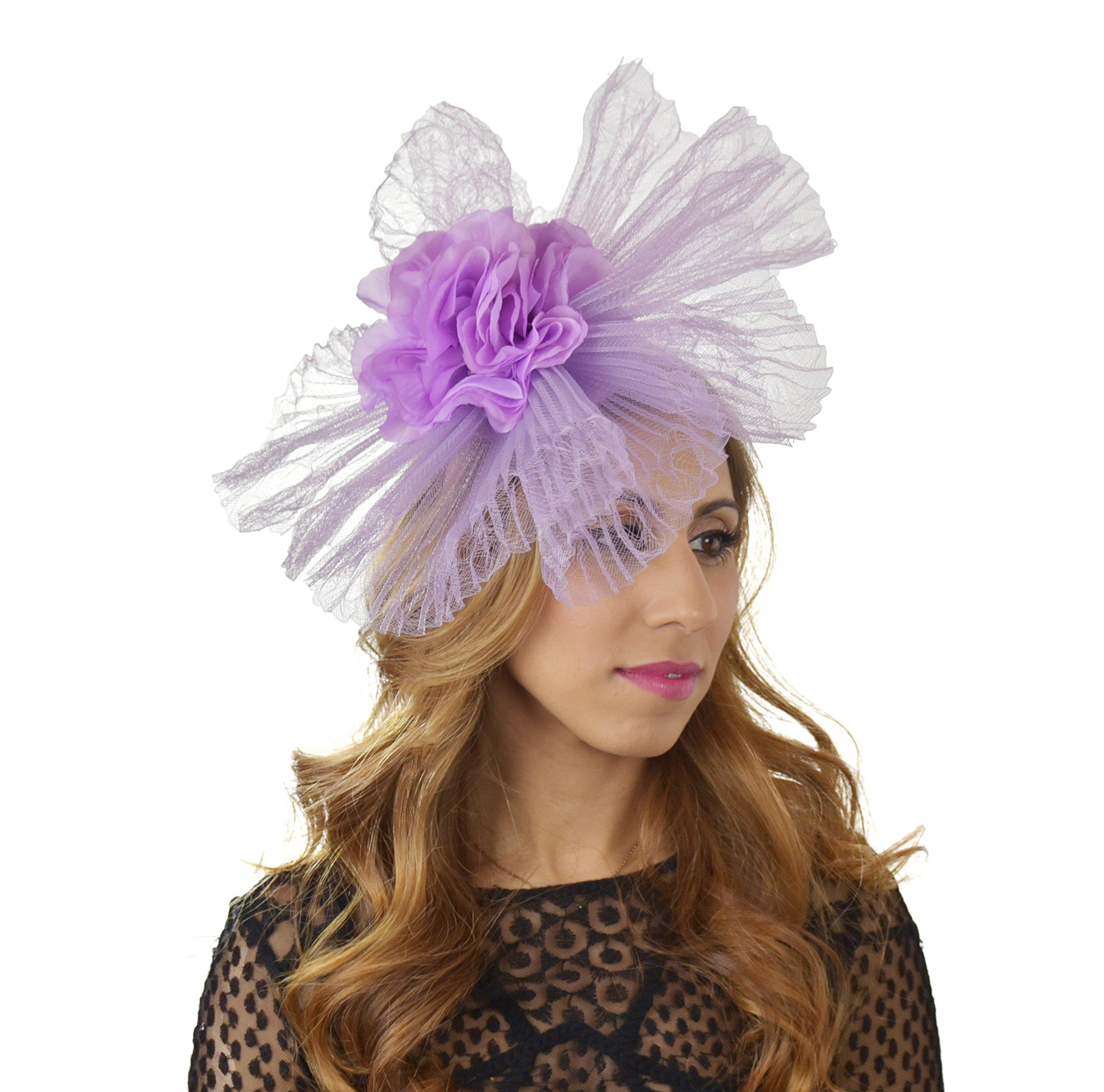 Hats By Cressida crin & Silk Flower Elegant Ladies Ascot Wedding Fascinator Hat Lilac by Hats By Cressida