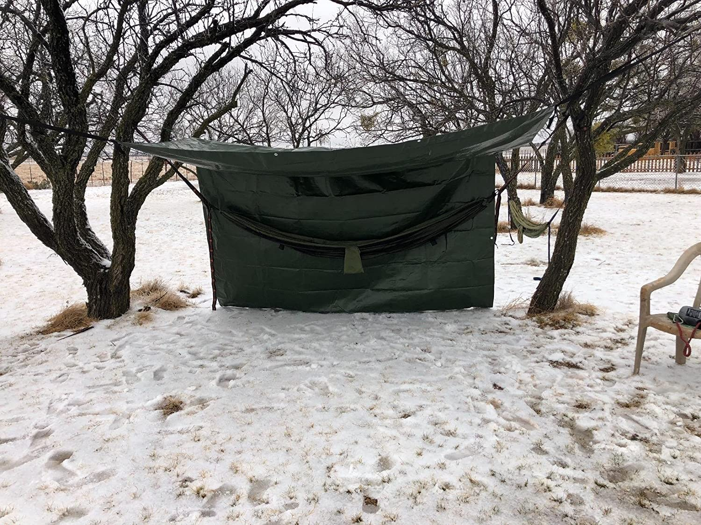Hanjet Tarp Heavy Duty Waterproof Camping Car Pool Shade 9-mil Thick Poly Tarp Army Green